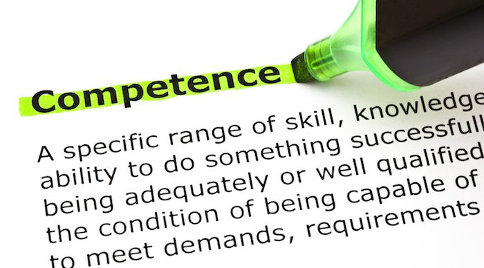 Photo of dictionary definition of competence